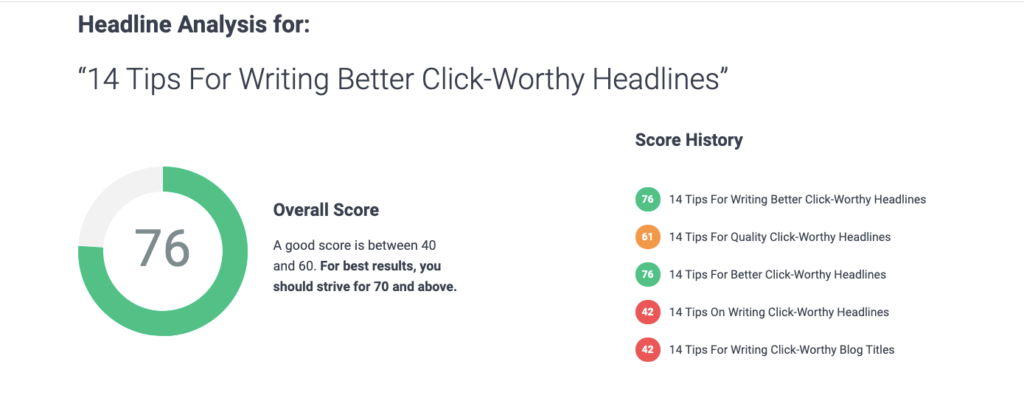 Showing numbers on a screen of a headline analyzer
